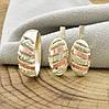 Серебряный набор с золотом Мая кольцо размер 18 + серьги 17х9 мм вставка белые фианиты, фото 2