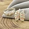 Серебряный набор с золотом Мая кольцо размер 18 + серьги 17х9 мм вставка белые фианиты, фото 3