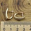 Серьги Xuping Аристократка 26909 размер 17х5 мм белые фианиты вес 2.7 г позолота 18К, фото 3