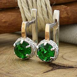 Серебряные серьги с золотом Мелани размер 15х8 мм вставка зеленые фианиты вес 2.9 г