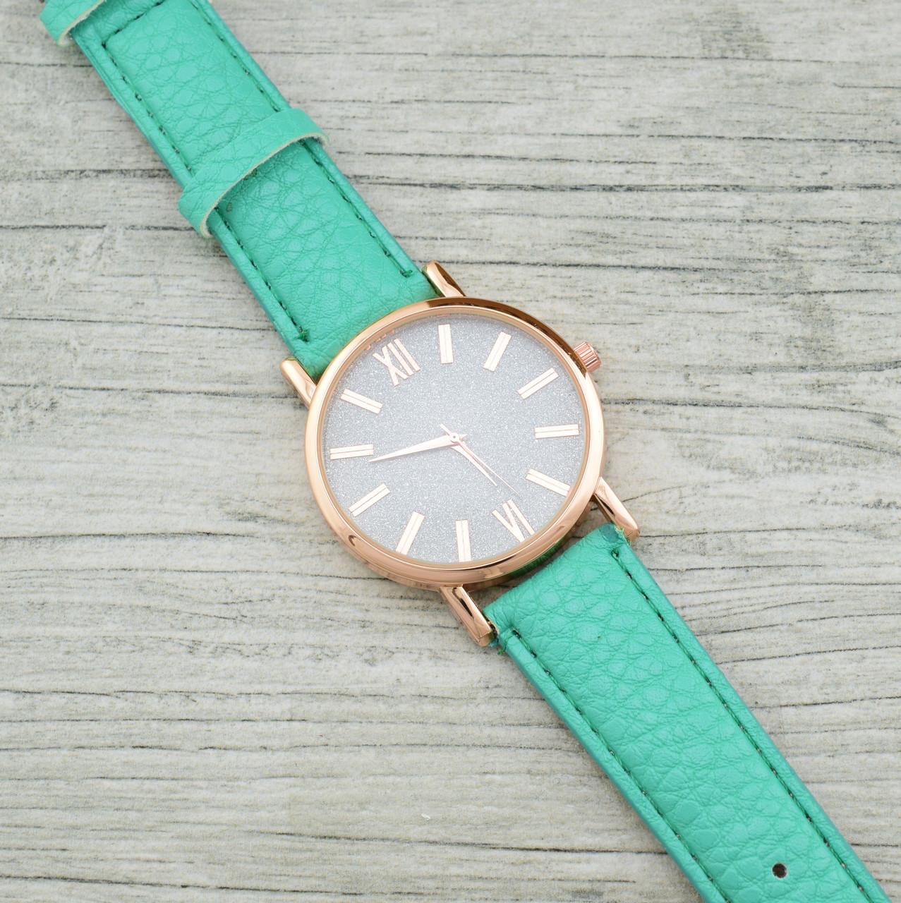 Часы G-008 диаметр циферблата 3.8 см, длина ремешка 17-21 см, бирюзовый цвет, позолота РО