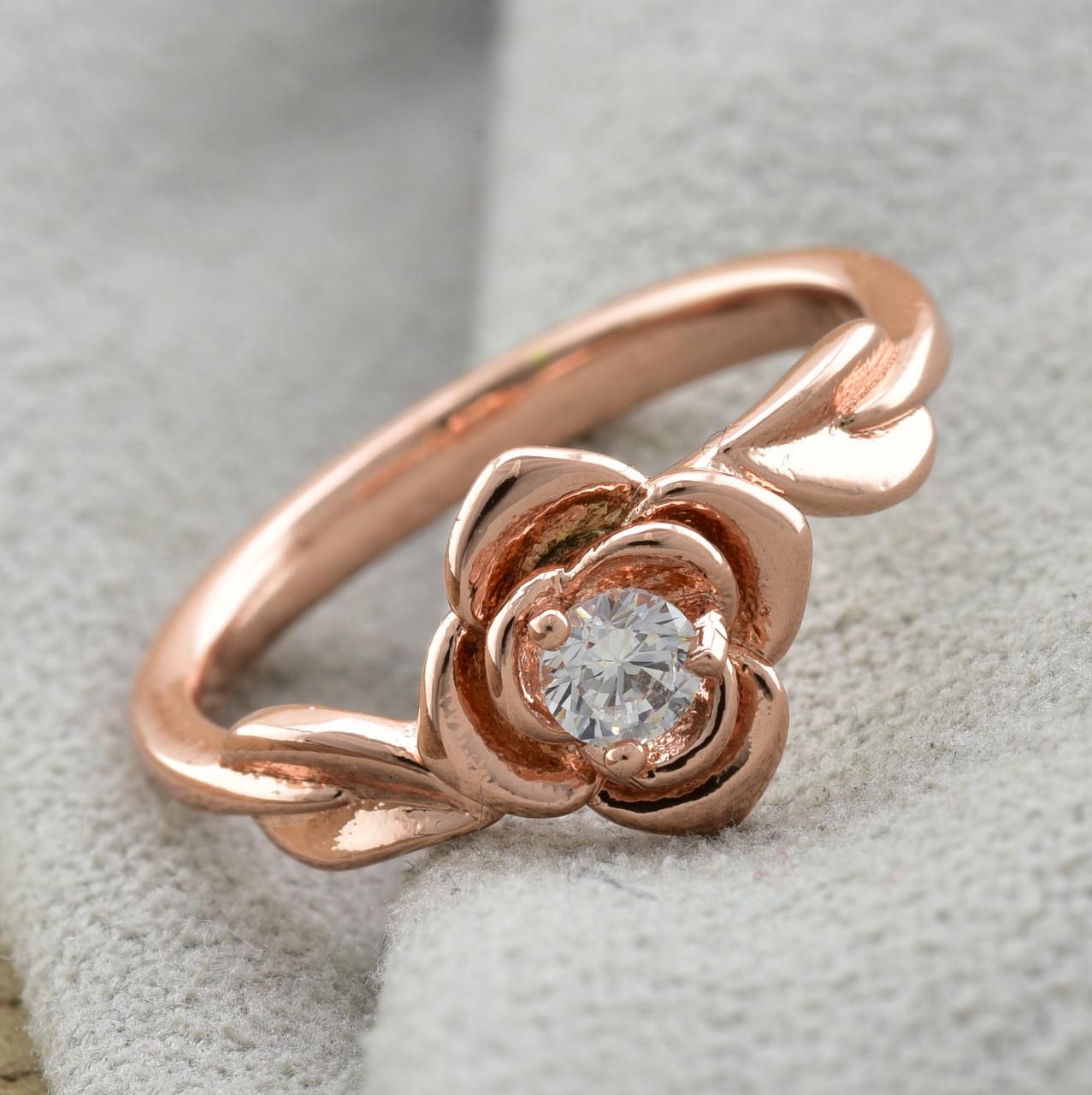 Кольцо Xuping Роза 13683 размер 21 ширина 8 мм белые фианиты вес 1.8 г позолота РО