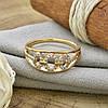 Кольцо Xuping 14455 размер 17 ширина 8 мм вес 1.6 г белые фианиты позолота 18К, фото 5