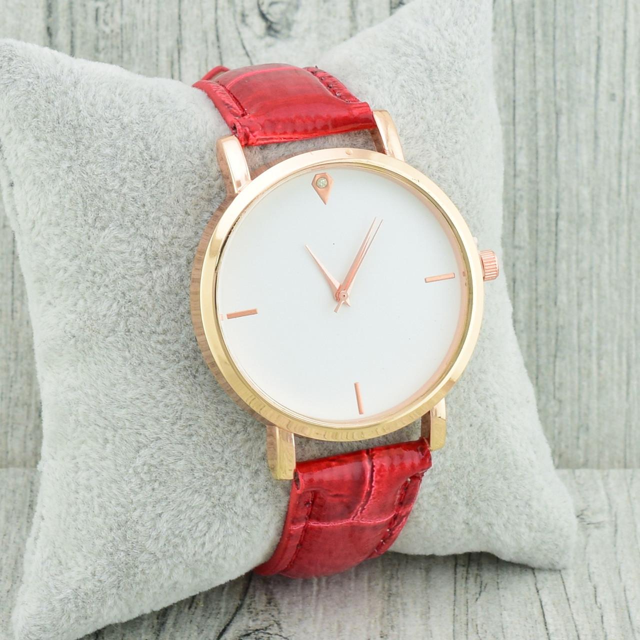 Часы G-106 диаметр циферблата 3.8 см, длина ремешка 17-21 см, красный цвет, позолота РО