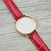 Часы G-106 диаметр циферблата 3.8 см, длина ремешка 17-21 см, красный цвет, позолота РО, фото 2