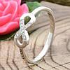 Серебряное кольцо Бесконечность вставка белые фианиты вес 1.4 г размер 17.5, фото 2
