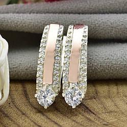 Серебряные серьги с золотом Ника размер 20х5 мм вставка белые фианиты вес 4.98 г