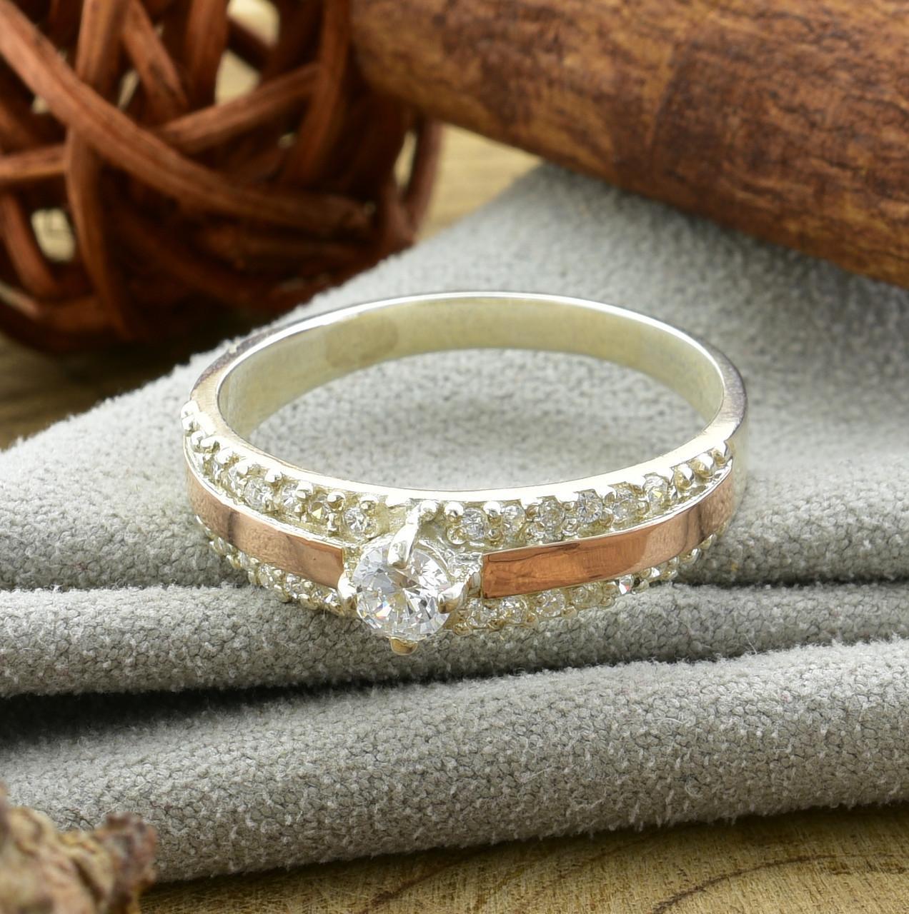 Серебряное кольцо с золотом Ника вставка белые фианиты вес 3.2 г размер 21.5