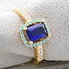 Кольцо Xuping 11881 размер 16 ширина 10 мм синие фианиты вес 2.7 г позолота 18К, фото 2