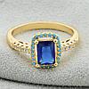 Кольцо Xuping 11881 размер 16 ширина 10 мм синие фианиты вес 2.7 г позолота 18К, фото 3