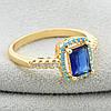 Кольцо Xuping 11881 размер 16 ширина 10 мм синие фианиты вес 2.7 г позолота 18К, фото 5