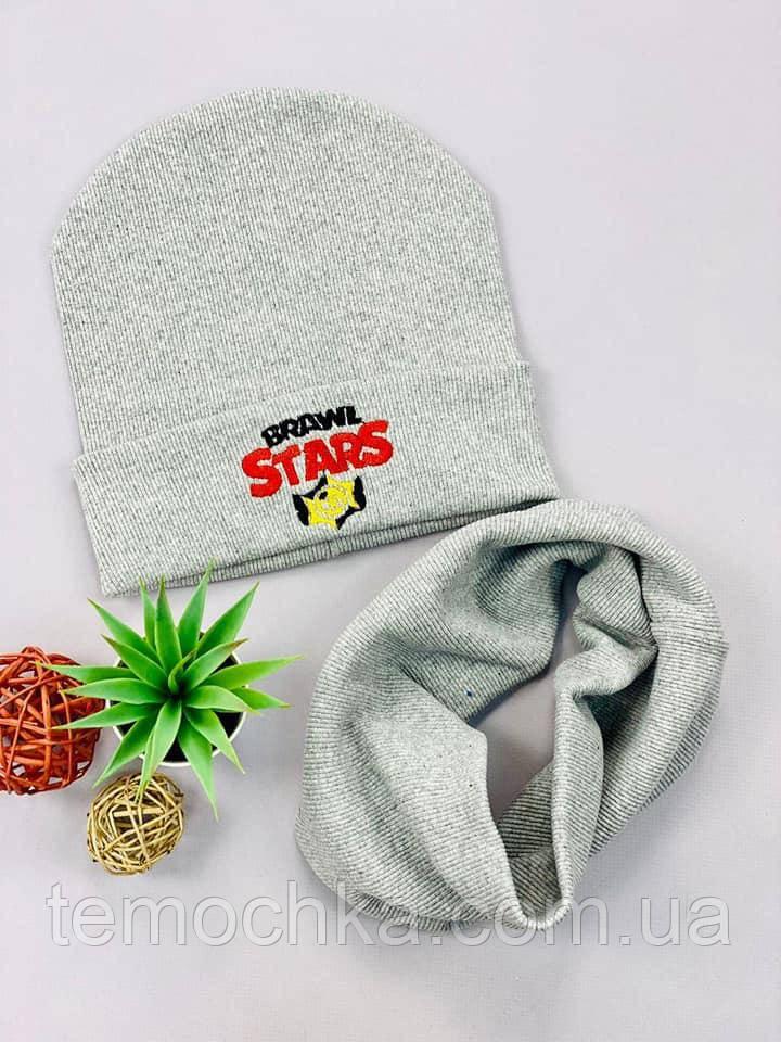 Комплект шапка и шарф хомут шапочка для мальчика на осень