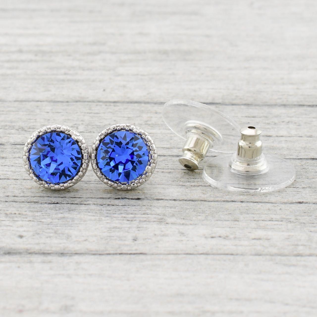 Серьги Xuping с кристаллами Swarovski 83031БЗ размер 8х8 мм цвет синий позолота Белое Золото