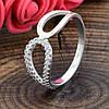 Серебряное кольцо с золотом вес 1.86 г вставка белые фианиты размер 18, фото 4