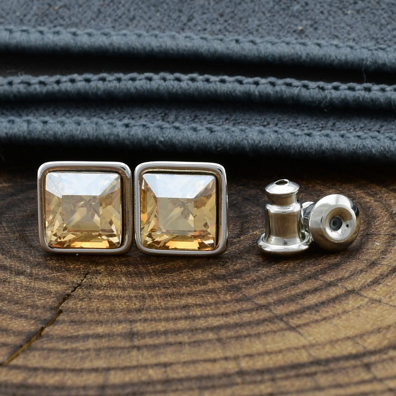 Серьги Xuping с кристаллами Swarovski 21402 размер 7х7 мм цвет дымчатый топаз позолота Белое Золото