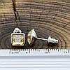 Серьги Xuping с кристаллами Swarovski 21402 размер 7х7 мм цвет дымчатый топаз позолота Белое Золото, фото 3