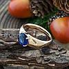 Кольцо Xuping 14289 размер 19 ширина 7 мм вес 4.6 г синие фианиты позолота 18К, фото 4