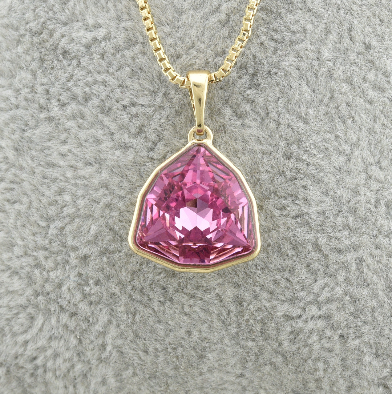 Набор Xuping с кристаллами Swarovski 87000 длина 39+6 см ширина 1 мм цвет розовый позолота 18К