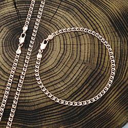 Набор Xuping Love 90404 цепочка длина 50 см ширина 3.5 мм + браслет длина 18 см ширина 3.5 мм позоло