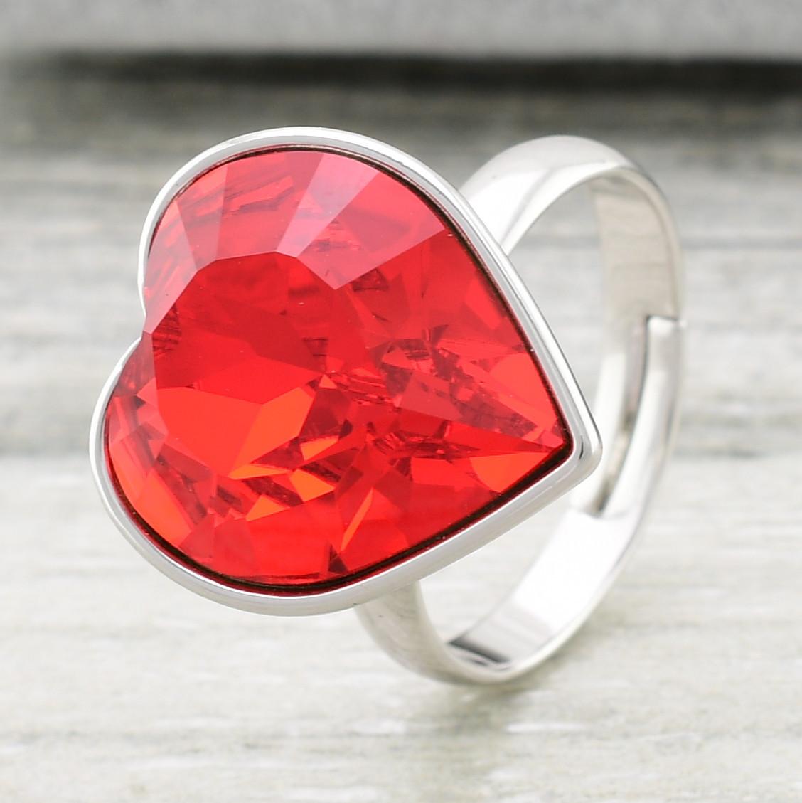 Кольцо Xuping с кристаллами Swarovski 11897 размер регулируемый 16-18 цвет красный позолота Белое Зо
