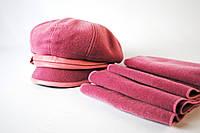 Стильный розовый комплект, берет и шапка
