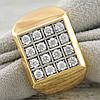 Печатка Xuping c родированием 11566 размер 21 ширина 15 мм вес 9.0 г белые фианиты позолота 18К, фото 2
