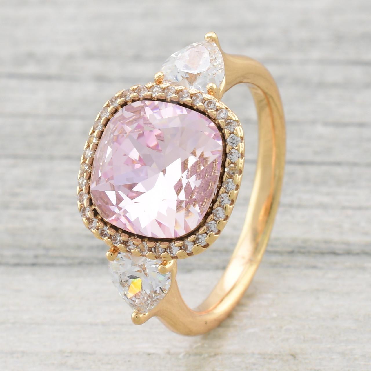 Кольцо Xuping с кристаллами Swarovski 11890 размер 17 светло розовый позолота 18К