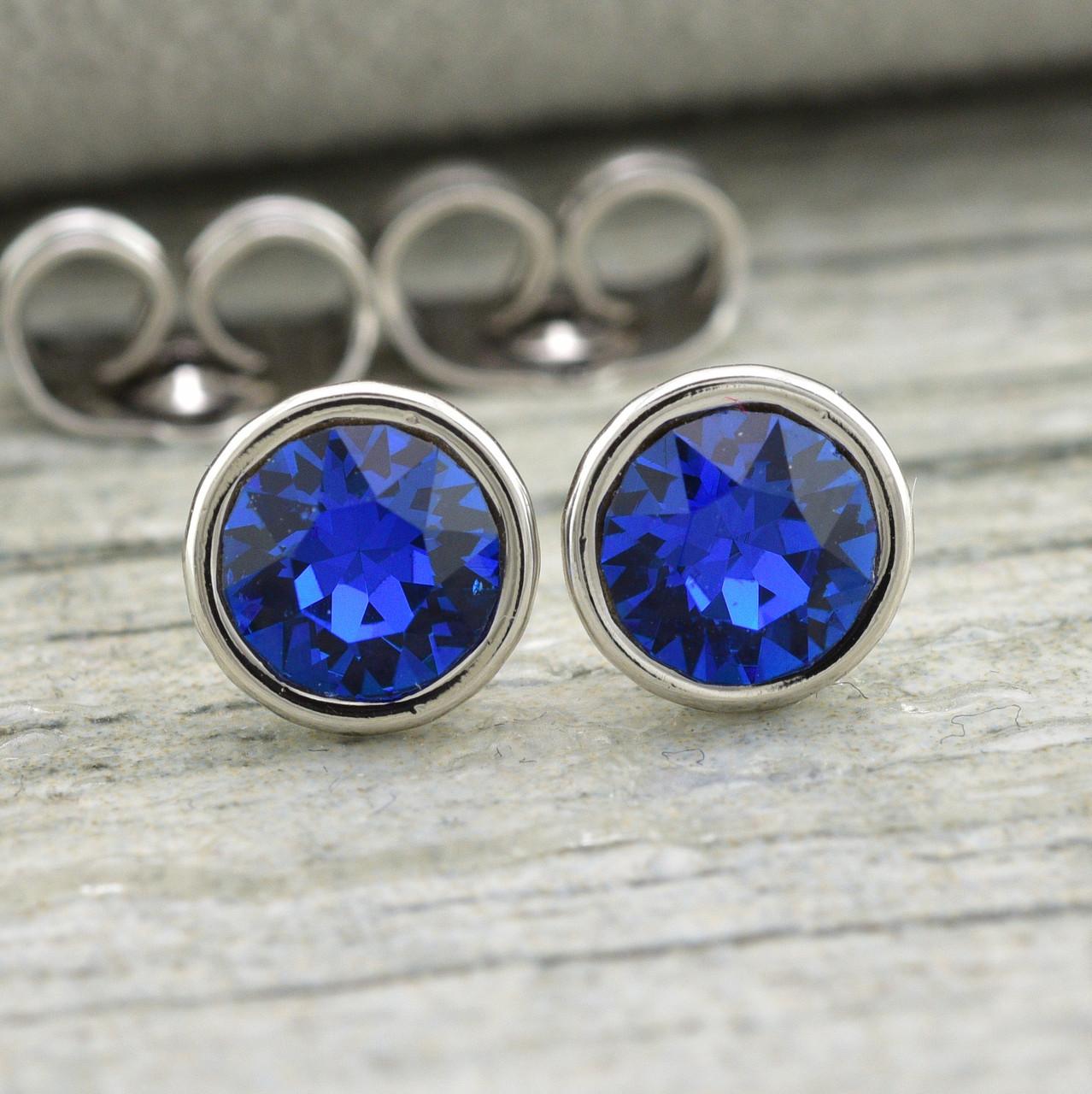 Серьги Xuping с кристаллами Swarovski 21420БЗ размер 7х7 мм цвет синий позолота Белое Золото