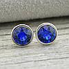 Серьги Xuping с кристаллами Swarovski 21420БЗ размер 7х7 мм цвет синий позолота Белое Золото, фото 3