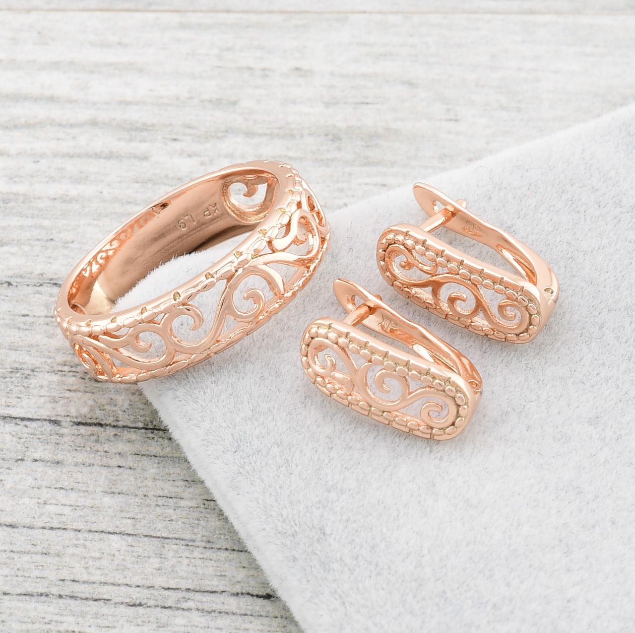Набор Xuping Изысканность 65009 кольцо размер 16 + серьги 15х6 мм позолота РО