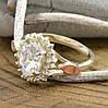 Серебряное кольцо с золотом Асти вставка белые фианиты вес 3.54 г размер 16, фото 2