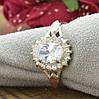 Серебряное кольцо с золотом Асти вставка белые фианиты вес 3.54 г размер 16, фото 3