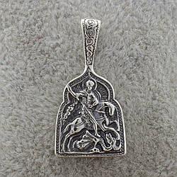 Серебряная иконка Георгий Победоносец размер 30х15 мм вес 2.7 г