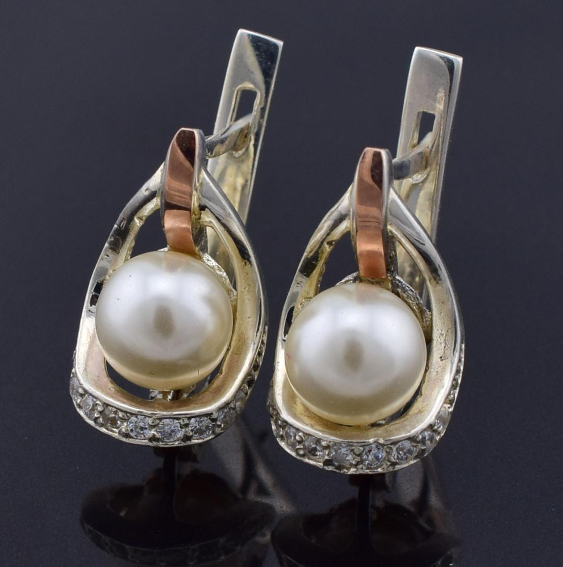 Серебряные серьги с золотом Улыбка размер 17х9 мм вставка искусственный жемчуг вес 4.4 г
