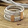 Серебряное кольцо двойное с золотом 850БС вставка белые фианиты вес 7.1 г размер 20, фото 4