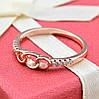 Кольцо Xuping 14374 размер 19 ширина 4 мм вес 1.3 г белые фианиты позолота РО, фото 2