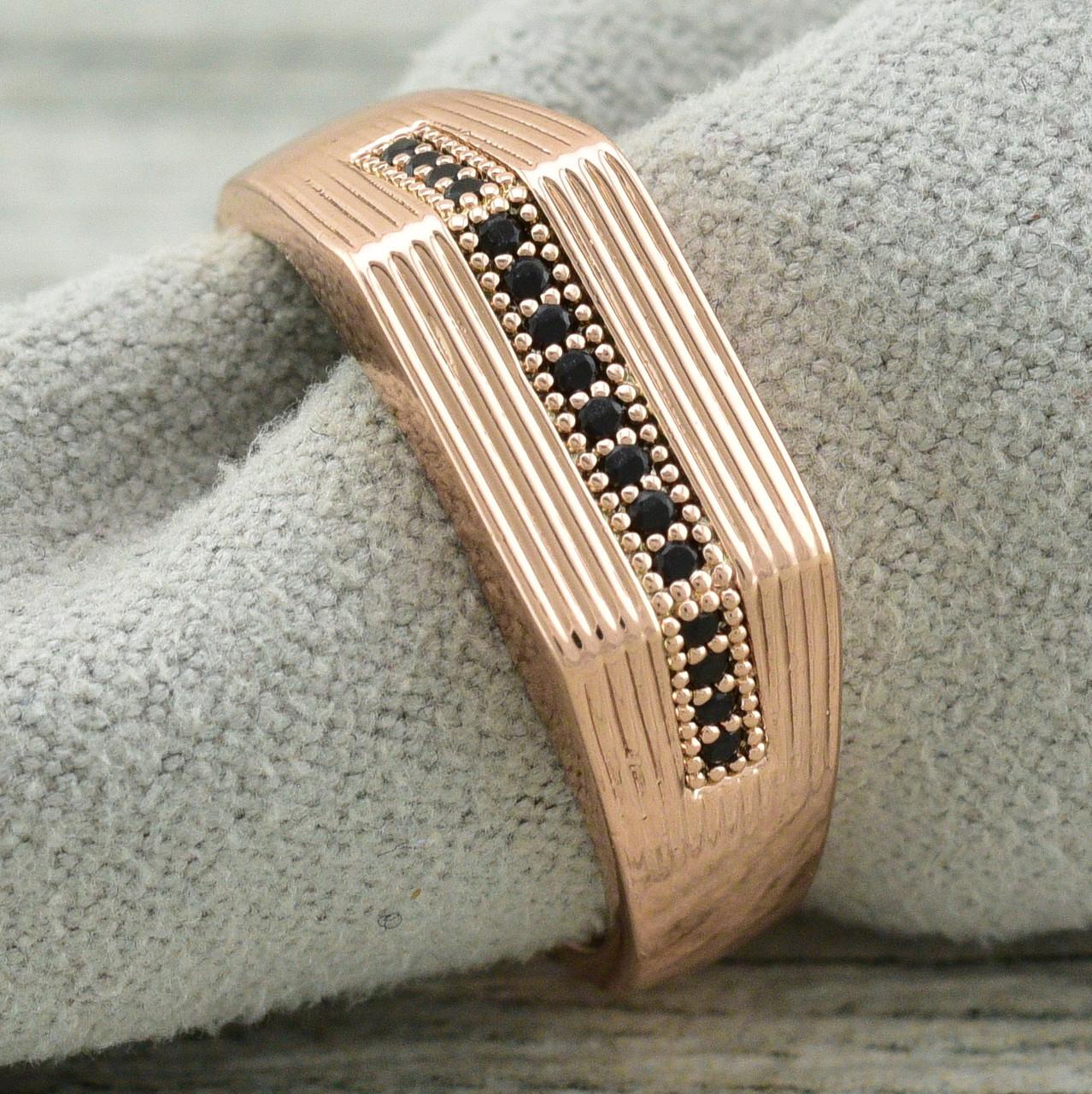 Кольцо Xuping 11620 размер 17 ширина 7 мм чёрные фианиты вес 3.5 г позолота РО
