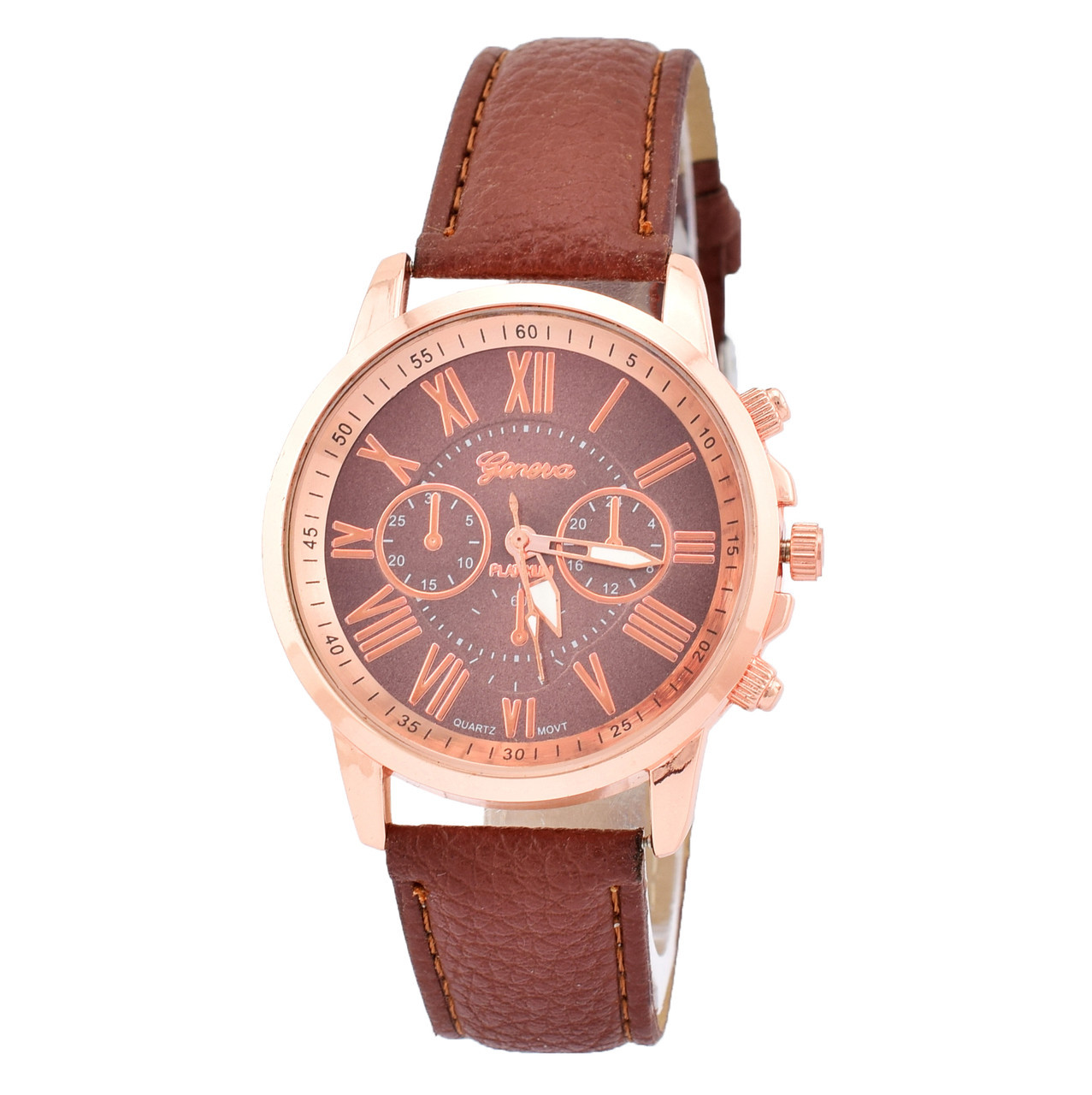 Часы G-012 диаметр циферблата 4 см, длина ремешка 17-21 см, коричневый цвет, позолота РО