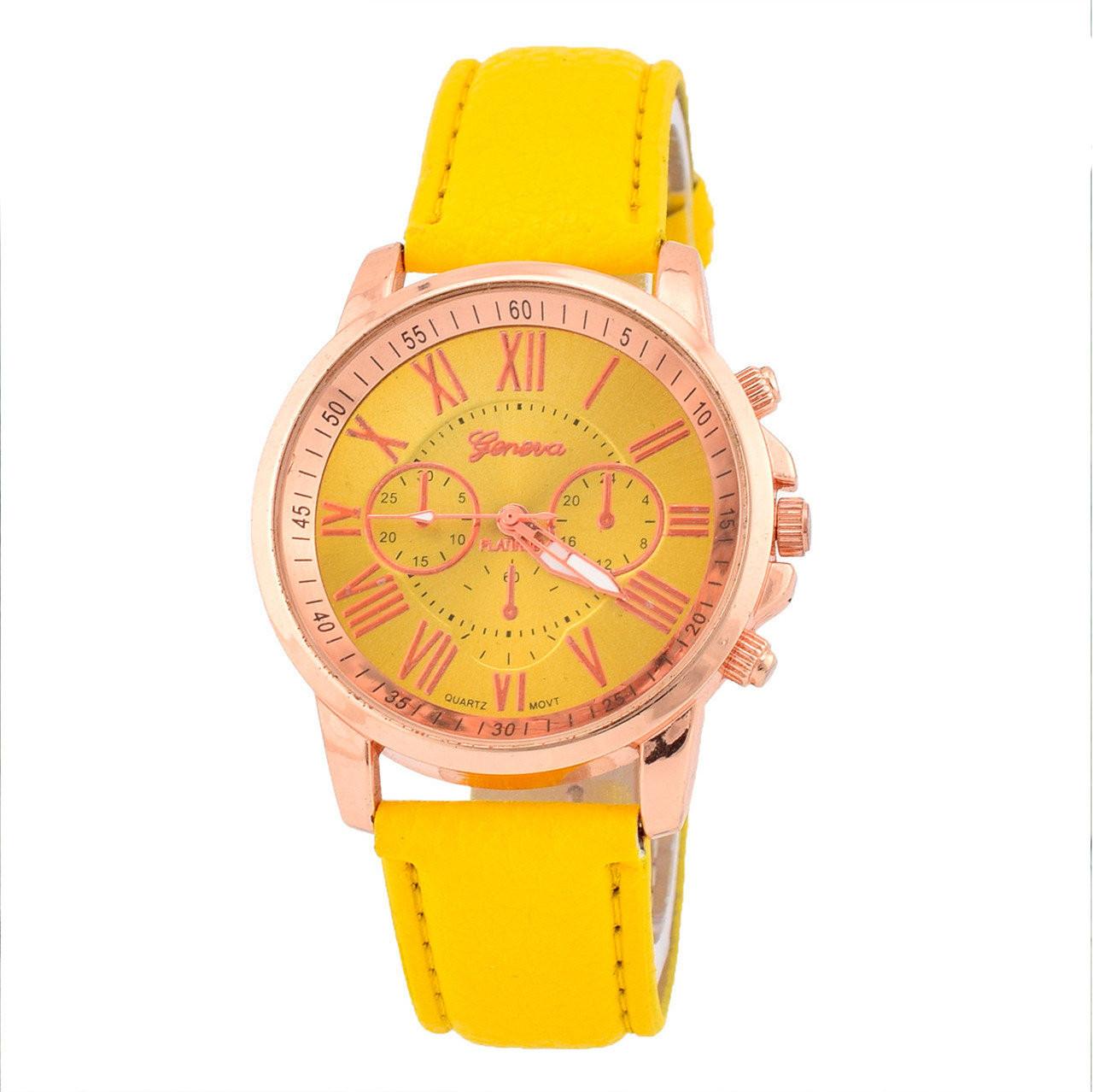Часы G-012 диаметр циферблата 4 см, длина ремешка 17-21 см, ярко-желтый цвет, позолота РО