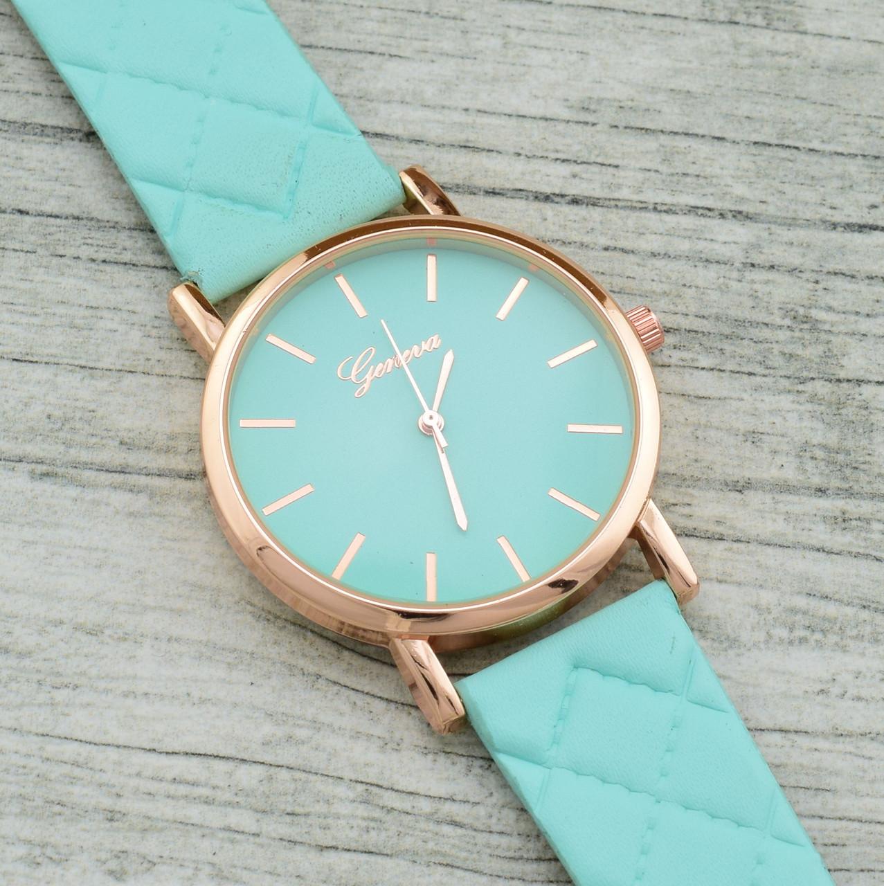Часы G-080 диаметр циферблата 3.8 см, длина ремешка 17-21 см, мятный цвет, позолота РО