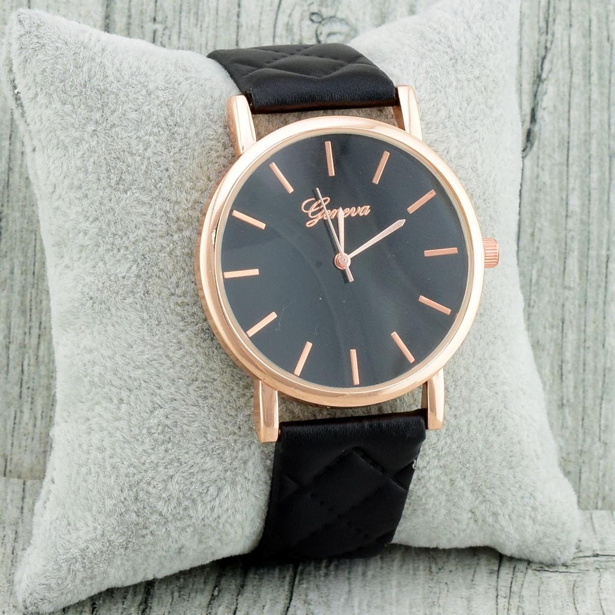 Часы G-080 диаметр циферблата 3.8 см, длина ремешка 17-21 см, чёрный цвет, позолота РО
