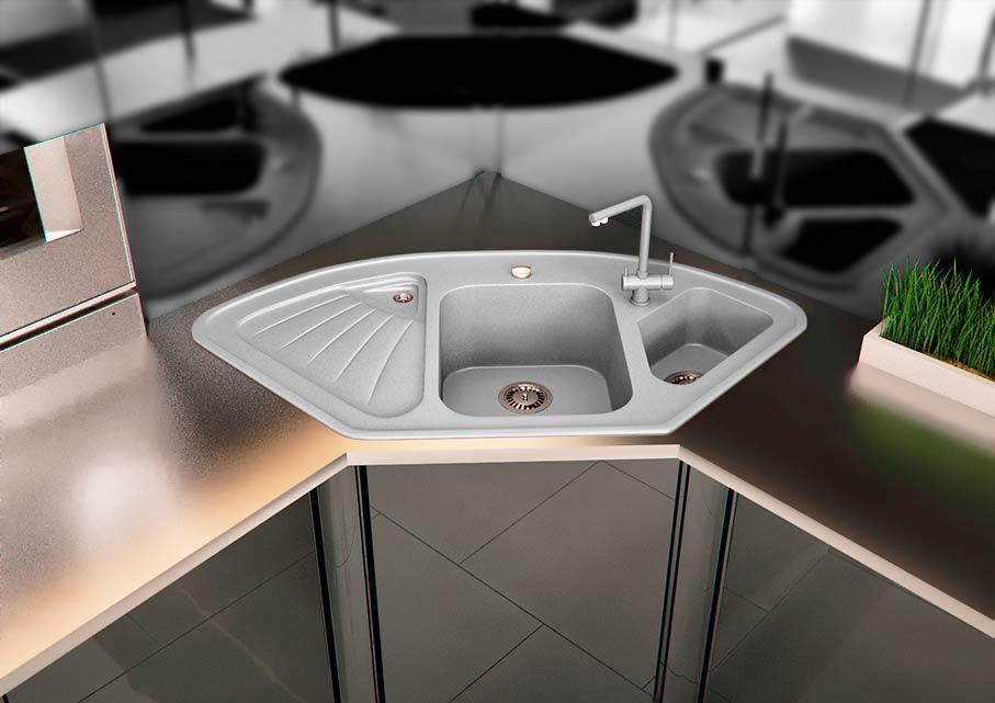 Кухонна мийка VALENTINA Gr Delta сірий