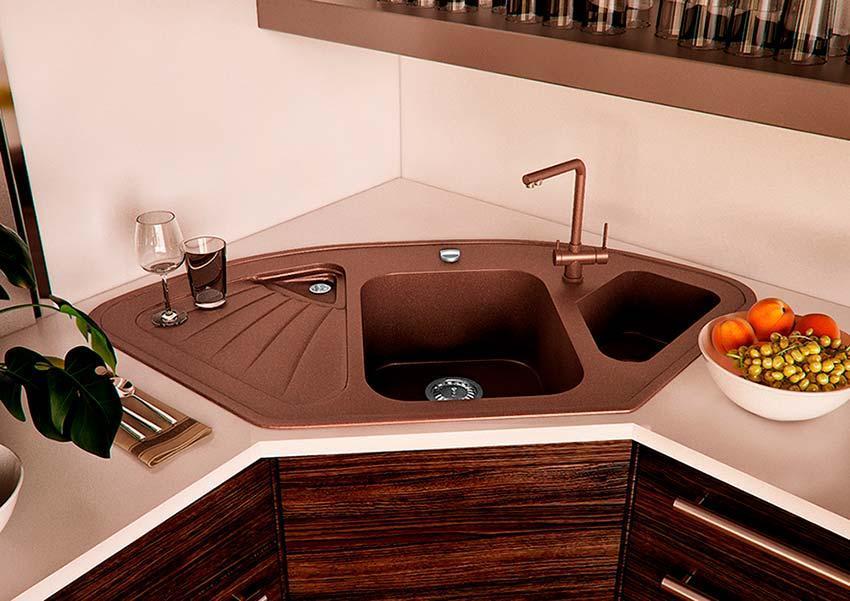 Кухонная мойка VALENTINA Gr Delta коричневый