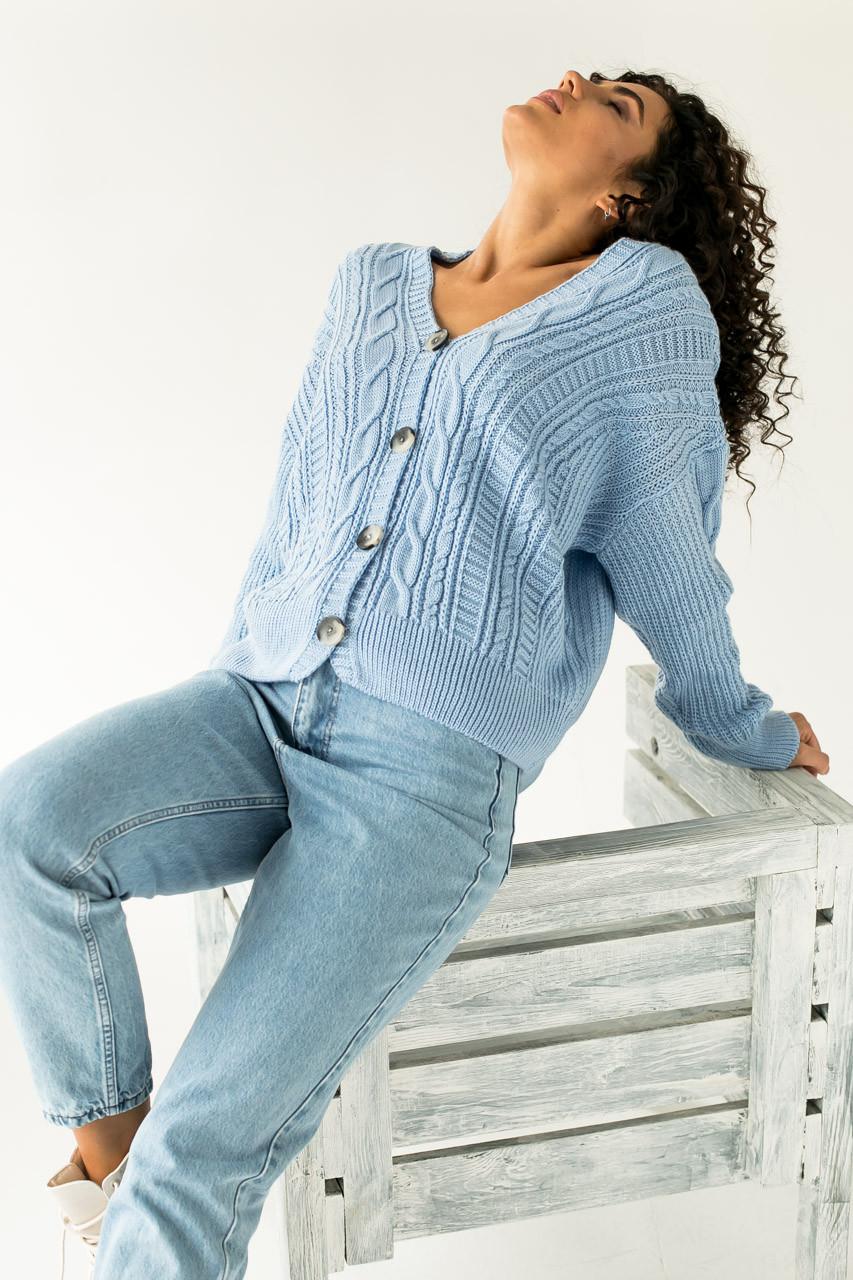 Кардиган Over Size крупной вязки коса LUREX - голубой цвет, L (есть размеры)