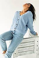 Кардиган Over Size крупной вязки коса LUREX - голубой цвет, L (есть размеры), фото 1