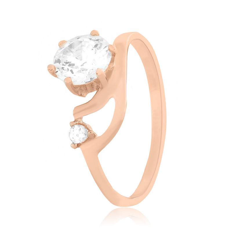 Серебряное кольцо позолоченное с фианитом К3Ф/116 - 18