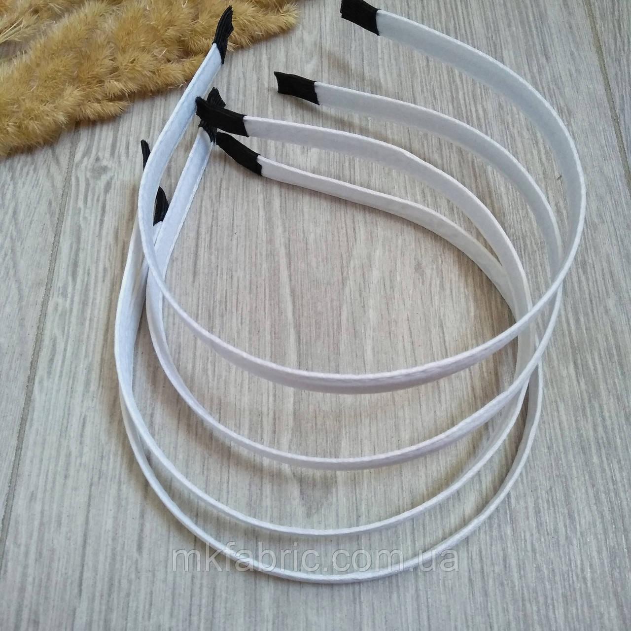 Ободок (обруч) металлический в обмотке для волос, 1 см, БЕЛЫЙ