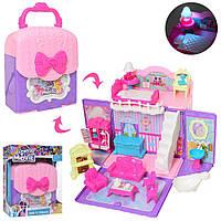 Игровой набор двухэтажный Домик - сумочка Pony с мебелью для фигурок пони, кукол LOL, 33х21 см, арт. 901-663