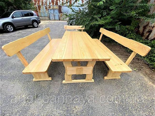 Садовая мебель из массива дерева 2000х800 от производителя для дачи, пабов, комплект Furniture set - 10