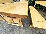 Садовая мебель из массива дерева 2000х800 от производителя для дачи, пабов, комплект Furniture set - 10, фото 2